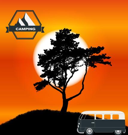 minibus: Cartoon Minibus in Nature a Tree Silhouette.