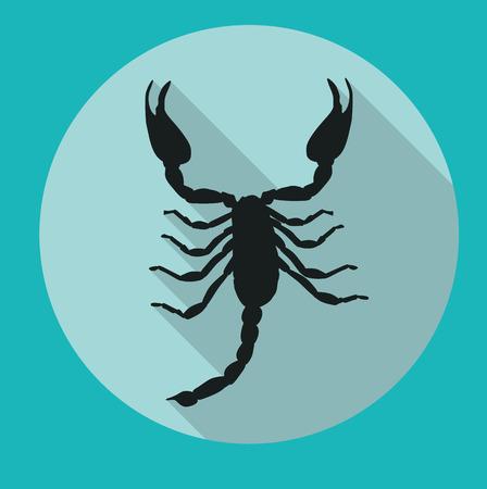 Escorpión negro de la silueta del icono Foto de archivo - 58734531