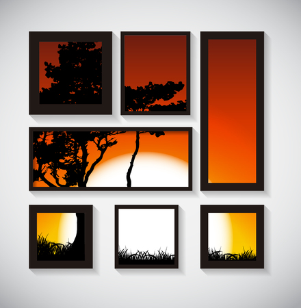 horizon over land: Abstract Gallery Background with Silhouette of Tree on Sunset Background. Vector Illustration