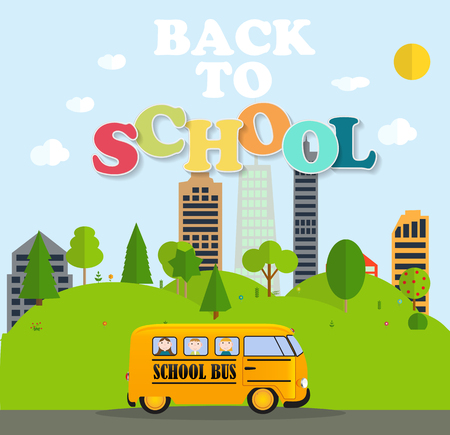 back view student: Back to School Background with Yellow Bus Vector Illustration Illustration