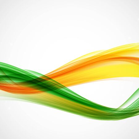 green power: Abstract Green and Orange Wave on White Background. Illustration