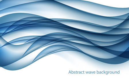 Abstract Blue Wave Set on Transparent Background.