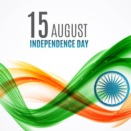 democracia: Indian Independence Day Background with Waves and Ashoka Wheel.