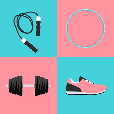 hula hoop: Sport, Trainers, Dumbbells and Skipping Rope Icon Flat Set