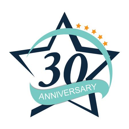 Template Logo 30 Anniversary Vector Illustration EPS10 Illustration