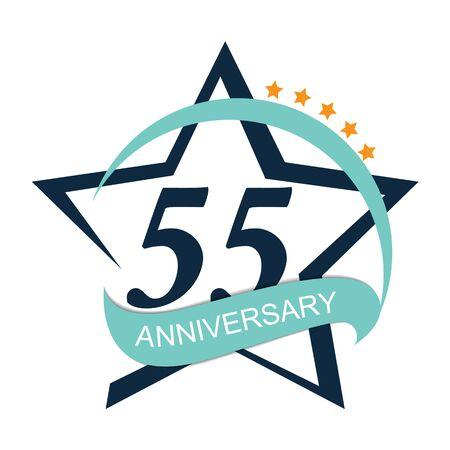 Template  55 Anniversary Vector Illustration Illustration