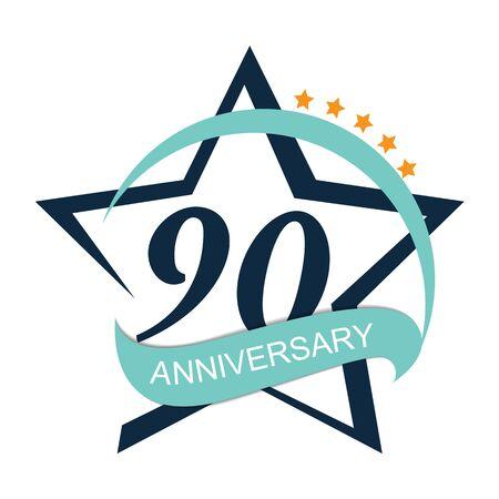 90: Template 90 Anniversary Vector Illustration Illustration