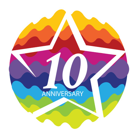 Template 10 Anniversary Vector Illustration