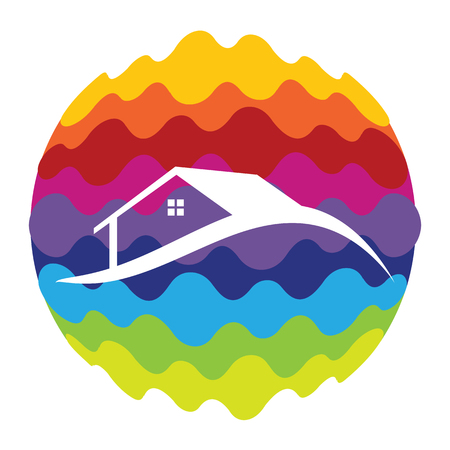 Home Rainbow Color Icon for Mobile Applications and Web Vector Illustration Illustration