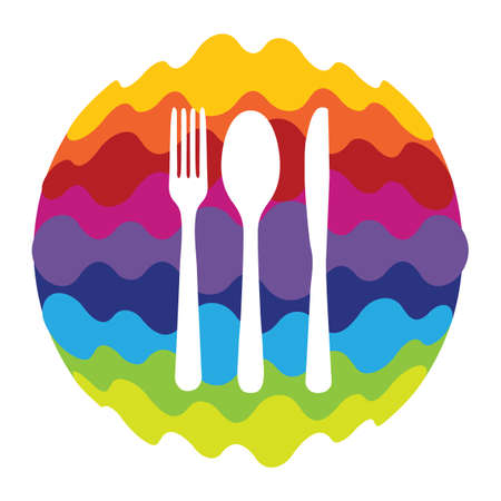 Food and Drink Rainbow Color Icon for Mobile Applications and Web Illustration