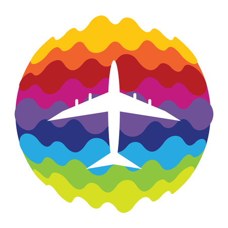 Airplane Rainbow Color Icon for Mobile Applications and Web