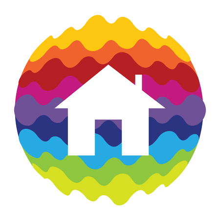 Home Rainbow Color Icon for Mobile Applications and Web