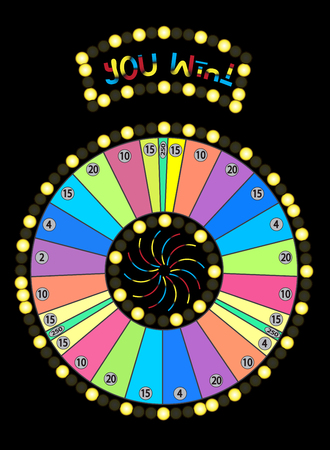 wheel of fortune: Colour Wheel of Fortune, Game Jackpot on Black Background. Illustration