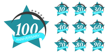 Template Set Anniversary Vector Illustration Illustration