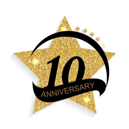 Template 10 Anniversary Vector Illustration
