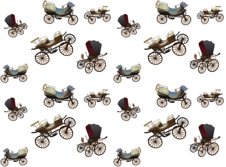 wooden horse: Old Wagon for the Horses. Seamless pattern.