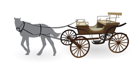 horse and cart: Old Wagon for the Horses. Isolated on White Background.
