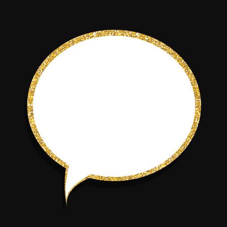 Speech Bubble Gold Glossy Background Vector Illustration Illustration