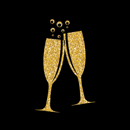 Twee glazen champagne Silhouette Vector Illustration