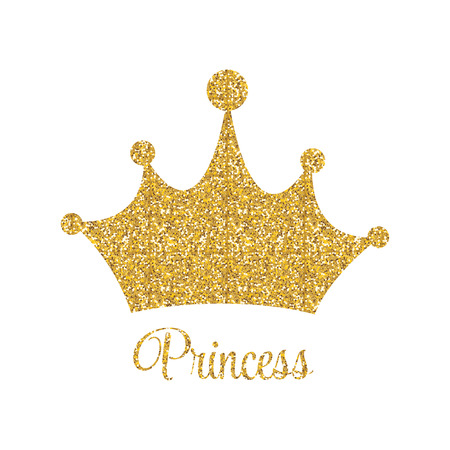 Princess Golden Glossy Background with Crown Vector Illustration Illustration