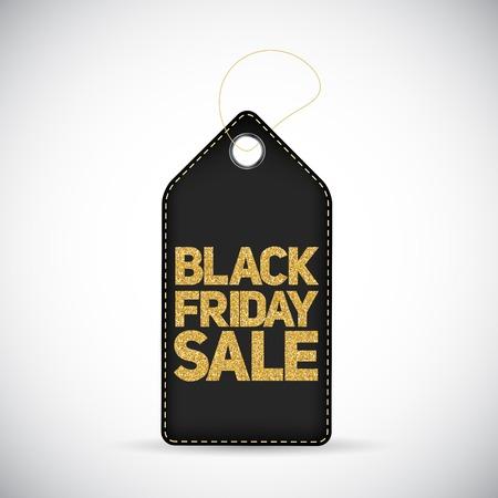 miserly: Black Friday Sale Black Label with Golden Letters Vector Illustration Illustration