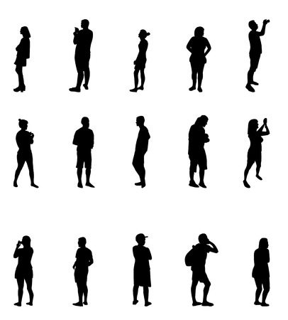 character traits: Black and White Silhouettes of People Vector Illustration.
