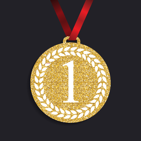 Art Golden Medal Icon Sign First Place. Vector Illustration Illustration