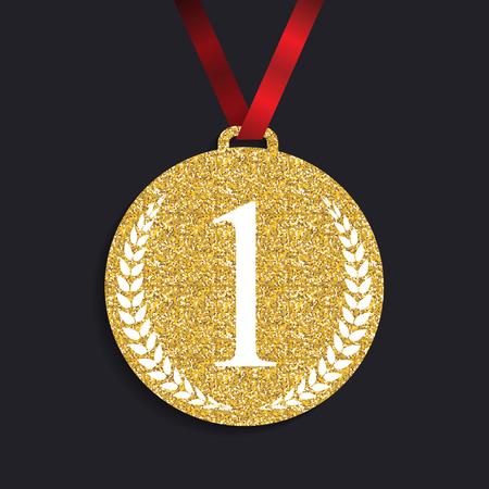 laureate: Art Golden Medal Icon Sign First Place. Vector Illustration Illustration