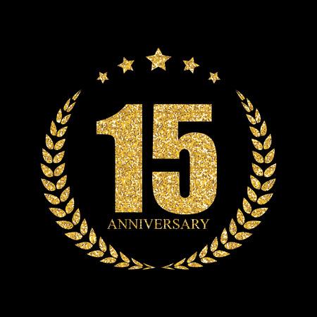 ceremonies: Template 15 Years Anniversary Vector Illustration
