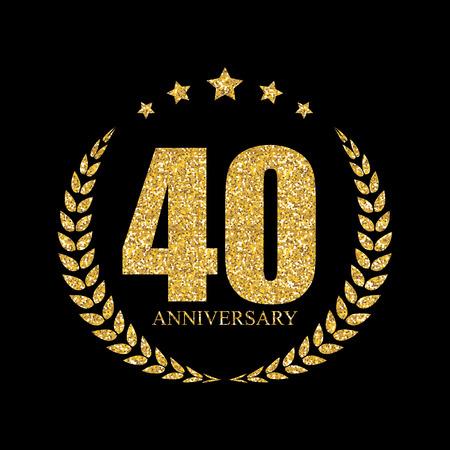 40: Template  40 Years Anniversary Vector Illustration Illustration