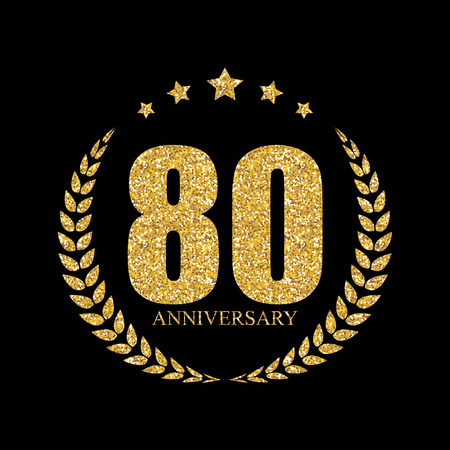 Template 80 Years Anniversary Vector Illustration Illustration