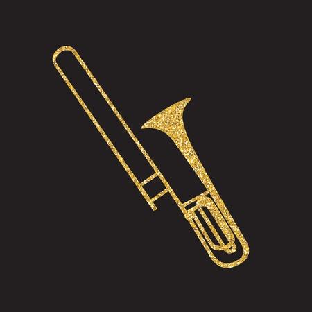 trombone: Brass Instrument Trombone, which Plays Jazz Music Direction. Vector Illustration. Illustration