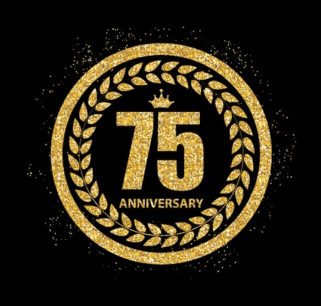 selebration: Template  75 Years Anniversary Vector Illustration