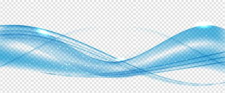 Abstract Blue Wave Set on Transparent Background. Vector Illustration.