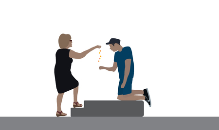 beg: A good woman delivers a disabled beggar for food. Vector Illustration. Illustration