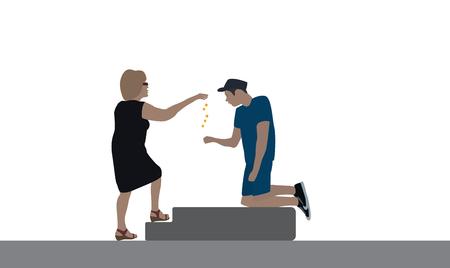 delivers: A good woman delivers a disabled beggar for food. Vector Illustration. Illustration