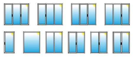 Variétés de fenêtres en PVC. Vector Illustration.