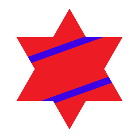 jewish star: Red Jewish Star with Blue Stripes on White Background. Vector Illustration. Illustration
