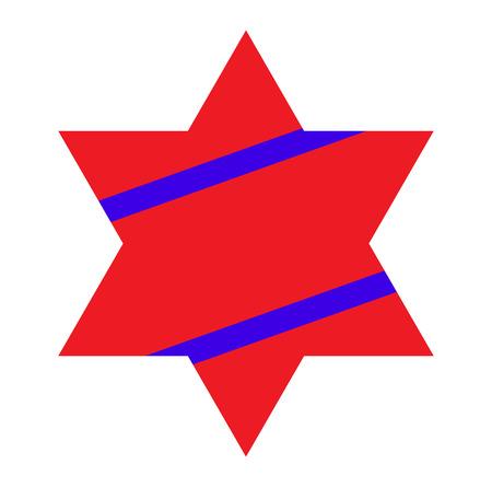 jewish star: Red Jewish Star with Blue Stripes on White Background. Vector Illustration. Illustration