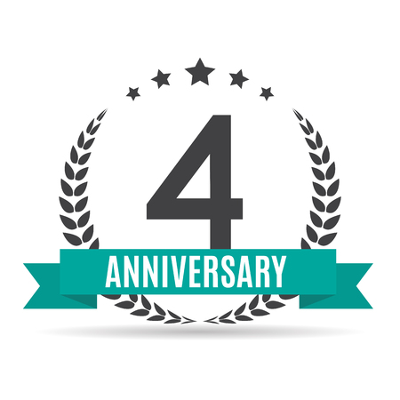 Sjabloon 4 jaar verjaardag vectorillustratie