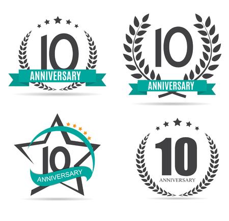 10 years: Template  10 Years Anniversary Set Vector Illustration