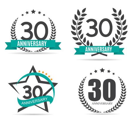 30: Template  30 Years Anniversary Set Vector Illustration Illustration