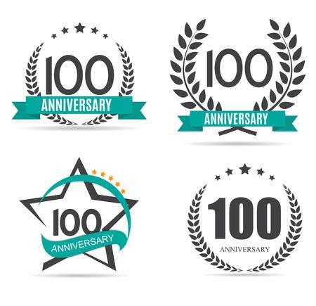 Template  100 Years Anniversary Set Vector Illustration