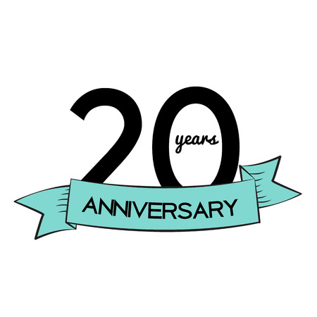 20: Template  20 Years Anniversary Vector Illustration