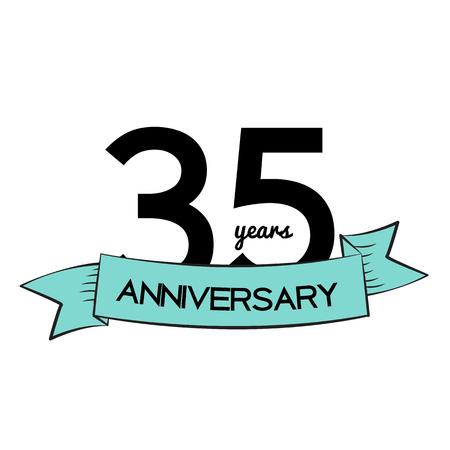 35: Template   35 Years Anniversary Vector Illustration