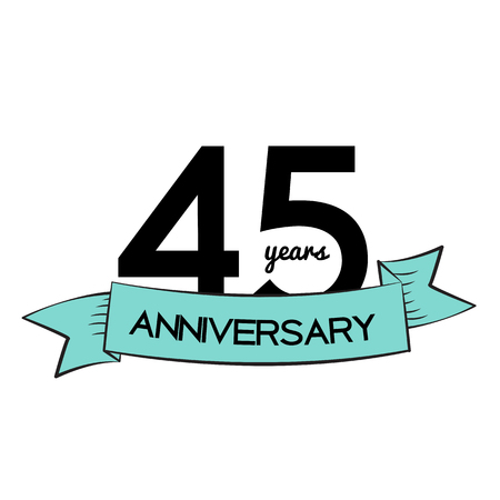 remembered: Template  45 Years Anniversary Vector Illustration