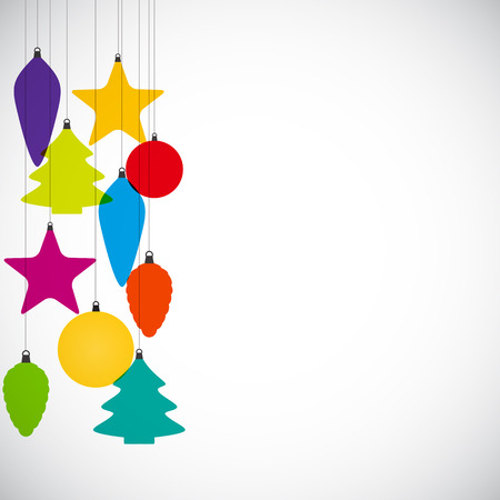 Abstract Beauty Christmas and  New Year Background with Decoration Toys and Balls.