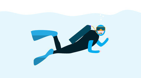 underwater sport: Underwater People, Cartoon  Scuba Diver. Concept of Extreme Diving Sport and Water Activity Vacation with Special Equipment. Vector Illustration Illustration