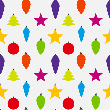 Abstract Beauty Christmas and  New Year Seamless Pattern Background with Decoration Toys and Balls. Vector Illustration.
