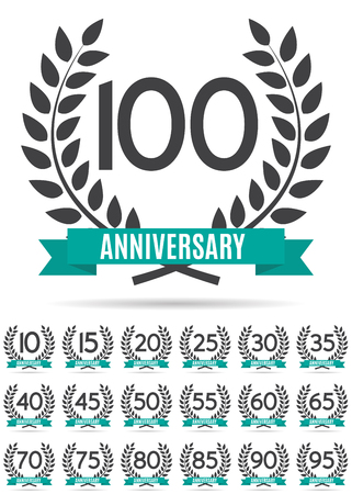 Big Collection Set of Template   Anniversary Vector Illustration Illustration